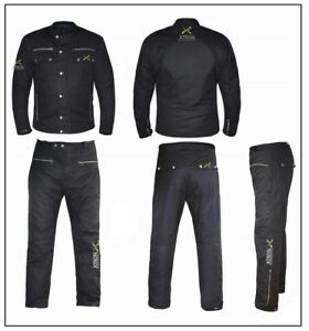 Black-Classic-Wax-Cotton-Vintage-Style-Motorcycle-Jacket-CE-ARMOUR-Motorbike-WP