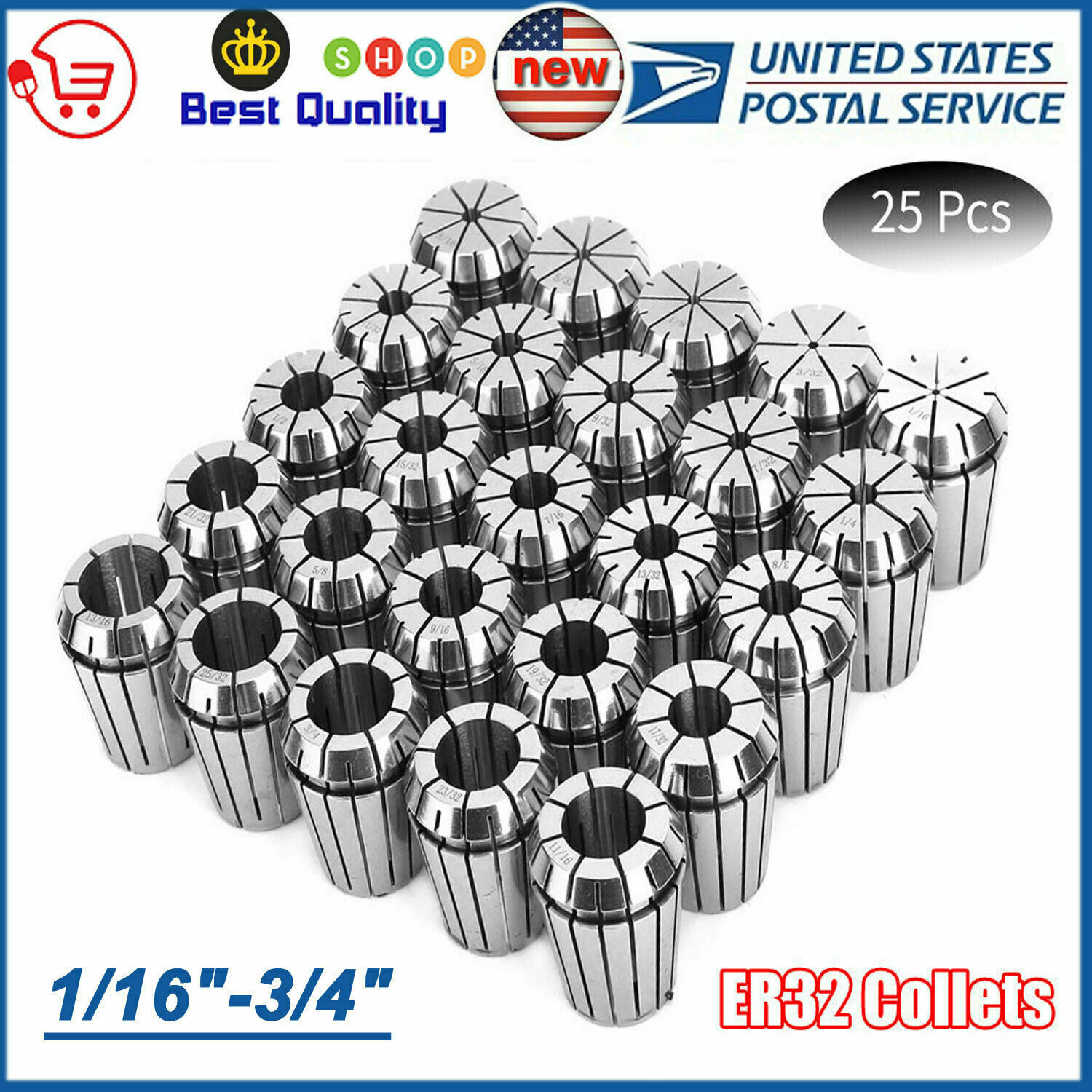 """ER32 Collet 13PC SET 1//16/""""-13//16/"""" By 32nd Industrial Grade Accurate"""