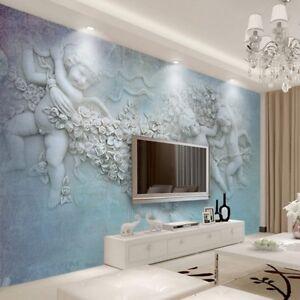 Dettagli su 3D Blu Greco Romano Angel Baby Statua Muro Murale Carta Da  Parati salotto camera da letto- mostra il titolo originale
