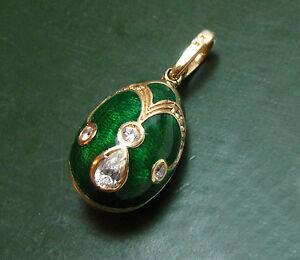 Sehr-schoener-585er-Gold-EI-ANHANGER-m-gruenem-EMAILLE-Faberge-Art