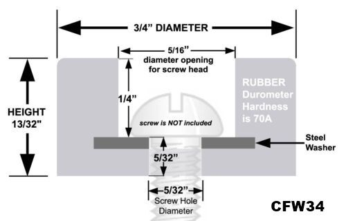 """""""Rubber Feet"""" 3//4/"""" Diameter 100 Hard Rubber Bumpers with Embedded Washer"""