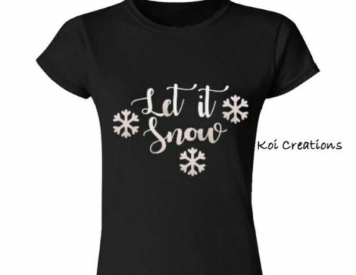 glitter HOTFIX Transfer Let it Snow with snow flakes Iron on t shirt or jumper