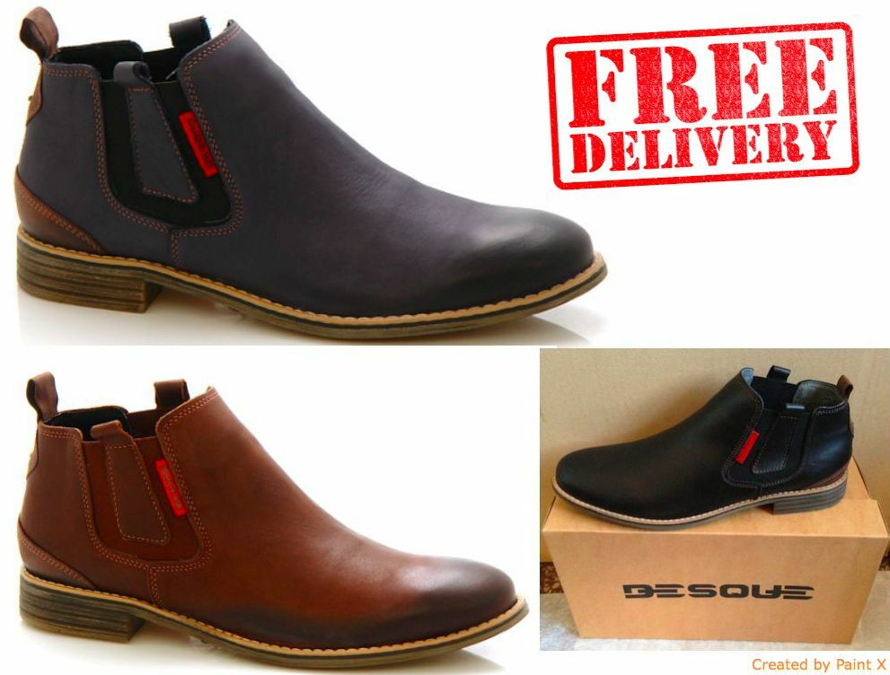 NEW MENS CHELSEA LEATHER CASUAL FORMAL SLIP ON ANKLE BOOTS SHOES WARRANTY