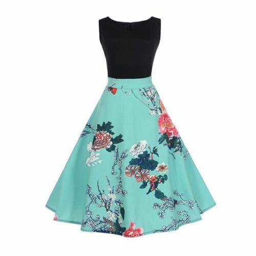Hepburn Vintage Women Patchwork Floral Retro Swing Rockabilly Dress Vestidos