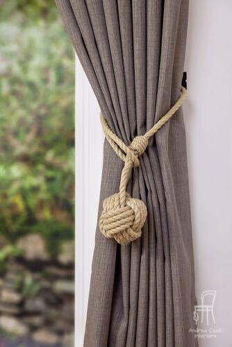 Beige Chanvre Corde monkey fist nœud Handmade Curtain Tiebacks Nautical Shabby Chic