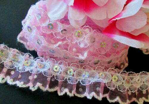Amazing ruffled lace trim 1 inch wide with sequin price for 1  yard