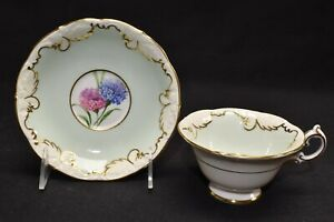 Paragon-By-Appointment-Wide-Mouth-Green-Floral-Hydrangea-A2252-8-Cup-amp-Saucer