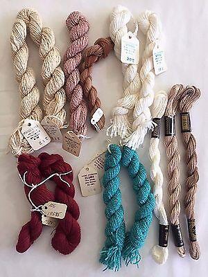 Yarn Lot Mixed 13 Skeins Vintage Aqua Red Ivory Beige Tan Wool Rayon Cotton Etc