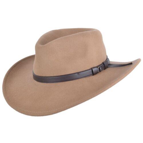 Ripiegabile Feltro Cappello Da Cowboy Western cappello Blu Navy,Nero,Marrone /&