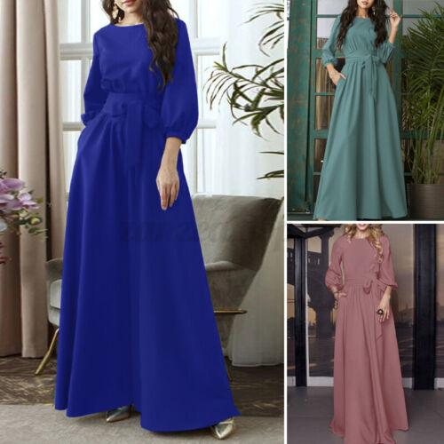 Women Fashion Elegent Long Shirt Dress Ladies OL Office Blouson Maxi Sundress US