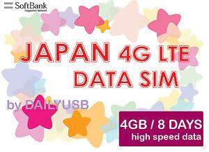JAPAN DATA SIM UNLIMITED DATA 4G LTE 4GB 8 DAYS PREPAID SIM BY SOFTBANK AIS