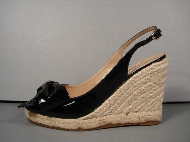 Valentino Negro Mena patente plataforma Cuerda Cuña Alpargatas charol sandalias 36