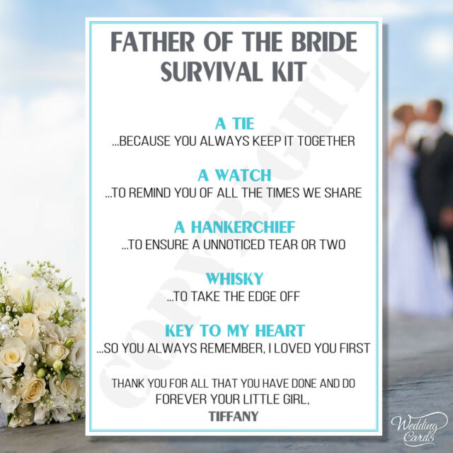 Father Of The Bride Novelty Survival Kit Favour Keepsake Thank You Gift Card