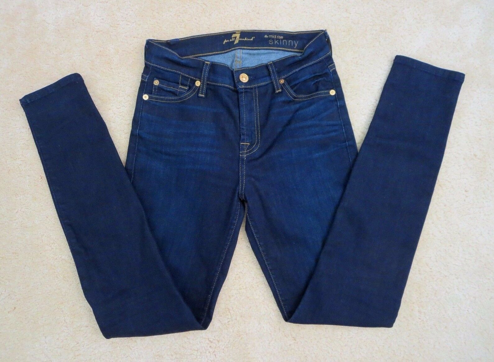 7 For All Mankind Womens Skinny Jeans Size 25 Mid Rise Dark Wash Pants