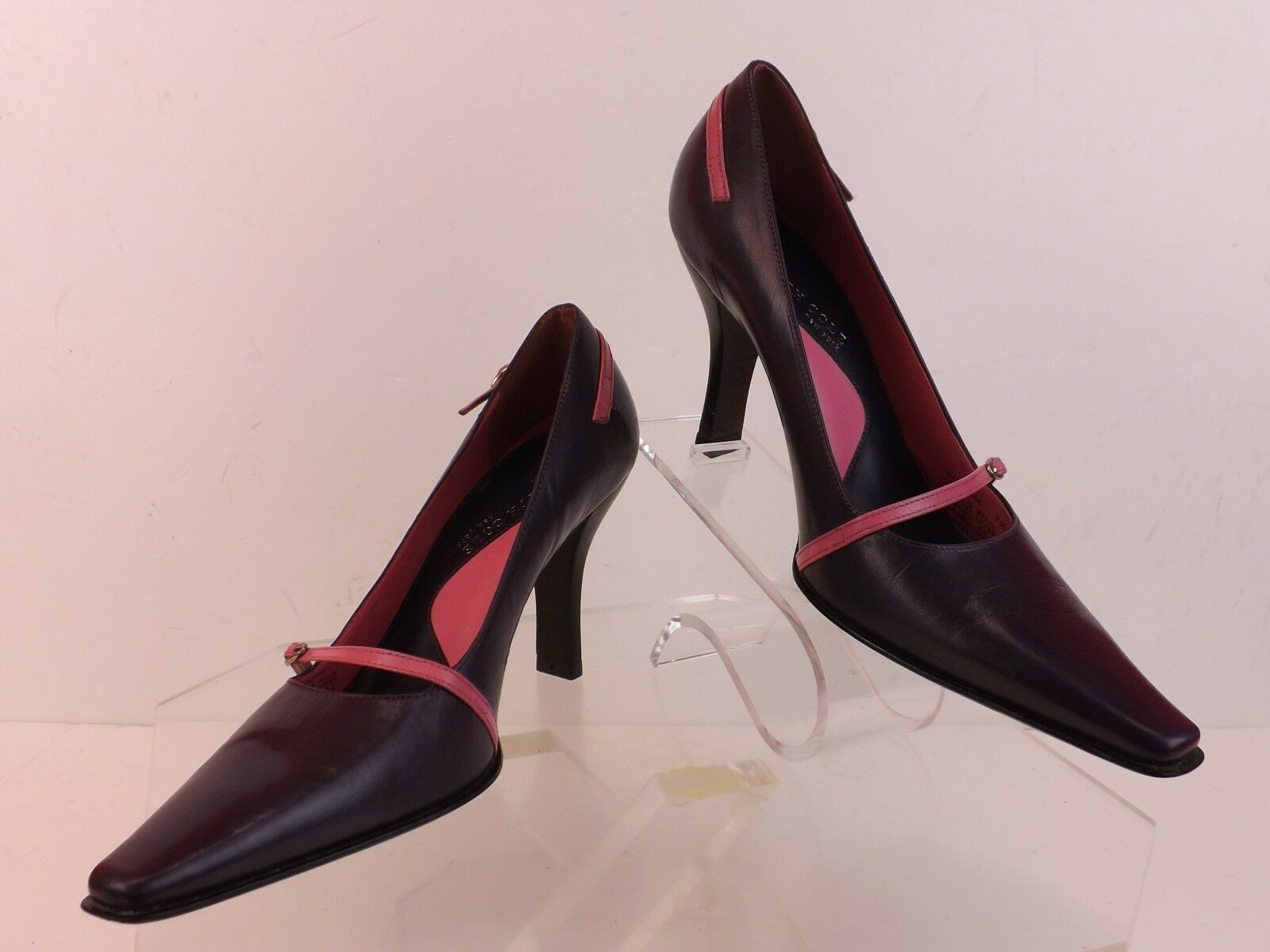 NWB KENNETH KENNETH KENNETH COLE PURPLE LEATHER POINTED TOE PINK LTH BELTED PUMPS 8.5 BRAZIL 3196fc
