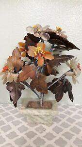 Stone-Carving-Handcrafted-Bonsai-Tree-Jade-Flower-Basket-Vintage