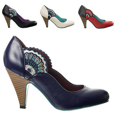 Womens Designer Peacock Vintage Retro 1950s Faux Leather High Heel Court Shoes