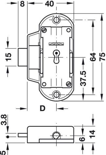 Drehstangenschloss Dornmaß 25 mm Möbelschloss zum Schrauben Aufschraubschloss