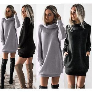 Women-Chunky-Knitted-Dress-Roll-Neck-Jumper-Sweater-Warm-Winter-Loose-Mini-Dress