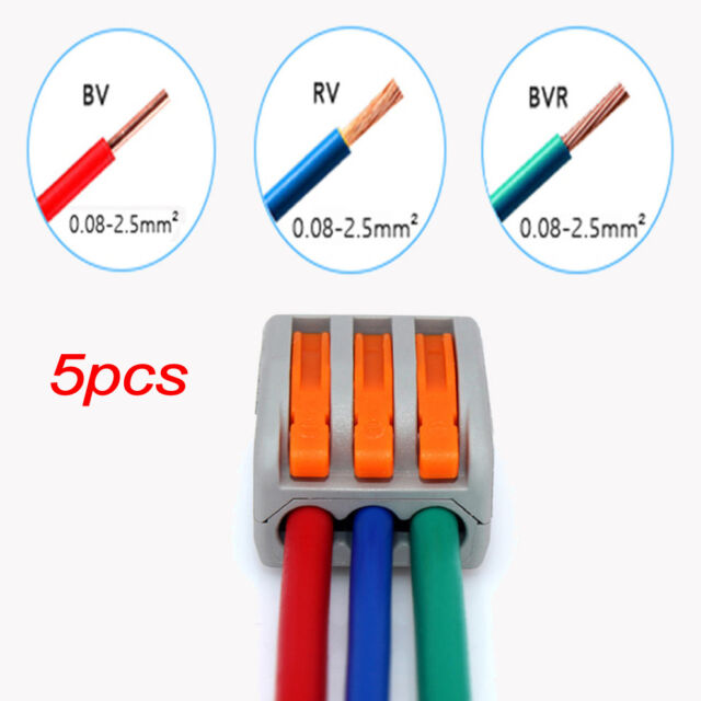 5pcs 3 WAY REUSABLE SPRING LEVER TERMINAL BLOCK ELECTRIC CABLE WIRE CONNECTOR