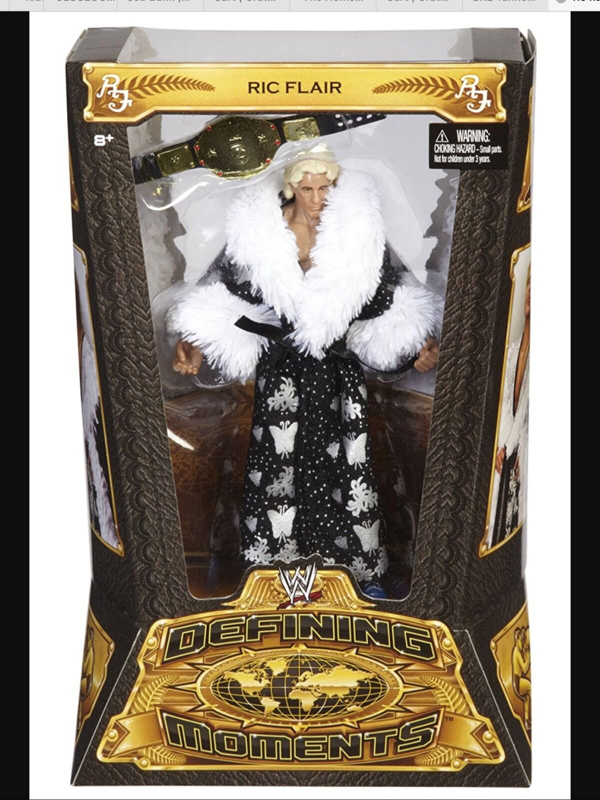 WWE Mattel Defining Moments Ric Flair Elite Figure with Belt 100% Mint On Card