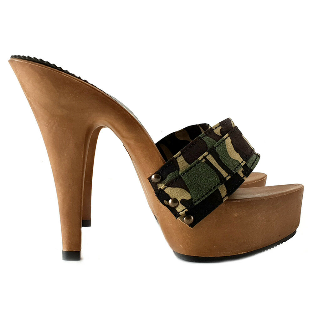 Clogs Camouflage High Made in  Heel 13-k9301 Camouflage