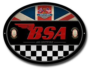 BSA A65 SPITFIRE OVAL METAL SIGN.OFFICIALLY LICENSED B.S.A PRODUCT. &™ BSA