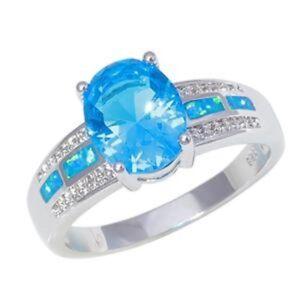 Splendido-Blu-Opale-di-Fuoco-Acquamarina-Anello-UK-Taglia-034-L-034-US-6