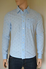 NEW Abercrombie & Fitch Classic Floral Print Button Down Shirt Light Blue L