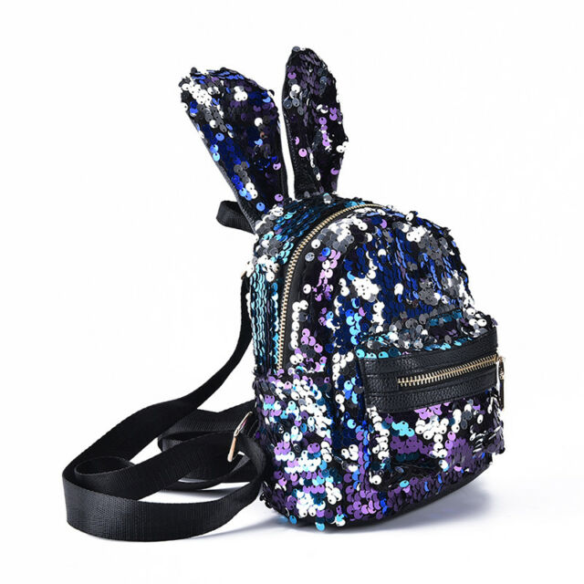 19c63b94a6 Shinning Bling Sequins Cute Big Rabbit Ears Backpack Girls Women ...