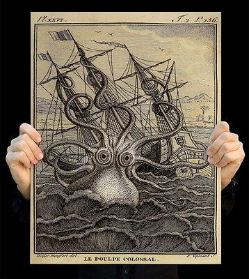 Giant Kraken Octopus Art Print Poster Man Cave Wall Decor History art print