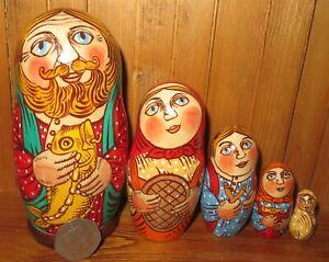 Original-MATRYOSHKA-FAMILY-Dad-amp-fish-5-Russian-Nesting-Dolls-UNIQUE-GIFT-signed