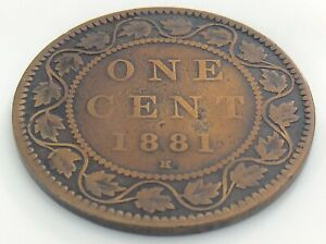 1881-H-C1-Canada-1-One-Cent-Large-Penny-Copper-Circulated-Victoria-Coin-J468