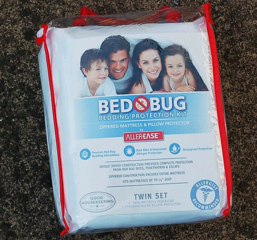 BED BUG BEDDING PROTECTION KIT PROTECTS TWIN SET BED MATTRESS & PILLOWS  NEW