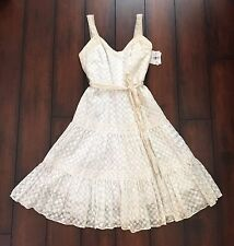 NEW w/Tag $415 MILLY Ballerina Flared DRESS~ITALY Fabric/Crocheted Knit/Low Back
