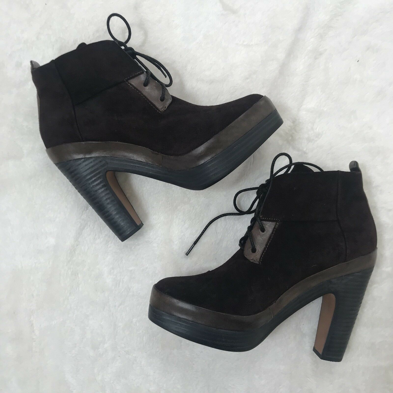 Rag & Bone 38.5 Rare Brown Suede Leather Lace Up Shirley Heel Ankle Boot Bootie
