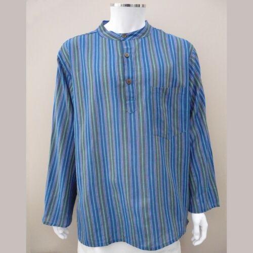 Fair Trade Hippy Casual Unisex GRANDAD SHIRT in BLUE Cotton Stripe UK seller