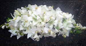 """WHITE SWAG 36"""" Lilies Orchids Table Centerpiece Silk Wedding Flowers Arch Decor"""