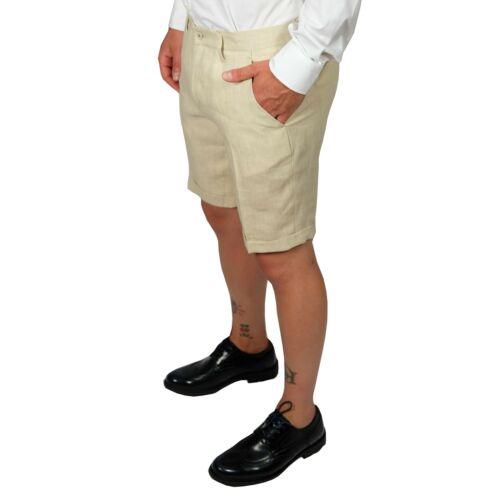 Bermuda Lino Uomo Beige Slim Pantaloncino Shorts Denim Eleganti Casual