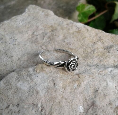 Toe Ring Oxidized Solid Sterling Silver Rose Flower Toe Ring