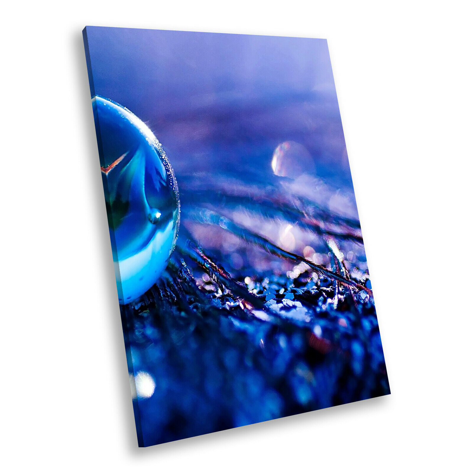 Blau lila Marble Portrait Abstract Canvas Framed Art Large Picture