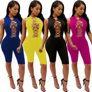 New-Women-Bandage-Romper-Trousers-Ladies-Evening-Dress-Clubwear-Jumpsuit-Bodycon