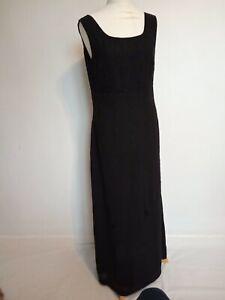 Laura-Ashley-Black-100-Silk-Sleeveless-Embellished-Evening-Maxi-Dress-Size-14