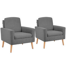 Costway 2 PCS Accent Arm Chair Upholstered Single Sofa W/ Wooden Legs Grey