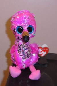 Ty FLIPPABLES ~ PINKY the Flamingo Changing Sequins 6