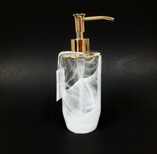 NEW BEAU MONDE THICK HEAVY CLEAR GLASS /& CLOUDY PATTERN+GOLD TRIM SOAP DISPENSER