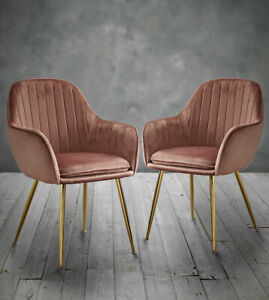 Marvelous Details About Mara Set Of 2 Pink Velvet Dining Chairs With Gold Legs Contemporary Style Chairs Dailytribune Chair Design For Home Dailytribuneorg