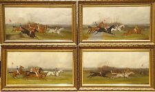 19th Century 4 Steeplechase Horse Race & Jockey Scenes Antique Oil Painting
