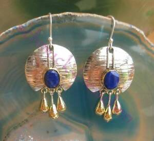 Earring-Lapislazuli-Disc-Gilded-drop-sterling-silver-925