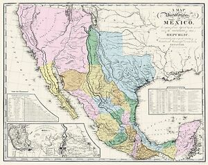 Old Mexico Map Mexican States Tanner 1846 23 X 28 97 Ebay